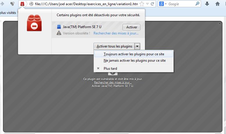 Activer Java sous Mozilla FireFox